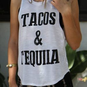Luxeian Tops - Tacos and Tequila Tank Top Summer Tank